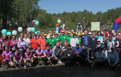 Всемирный день скандинавской ходьбы в Красногорске .Построение команд